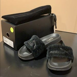 Fenty Puma Black Fur Slides